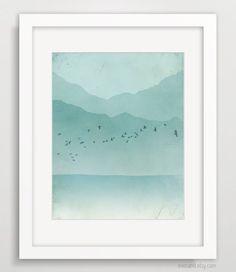 Beach Decor, Minimalist Abstract Landscape, Ocean Print, Nautical Decor, Mountains, Modern Wall Art. $18.00, via Etsy.