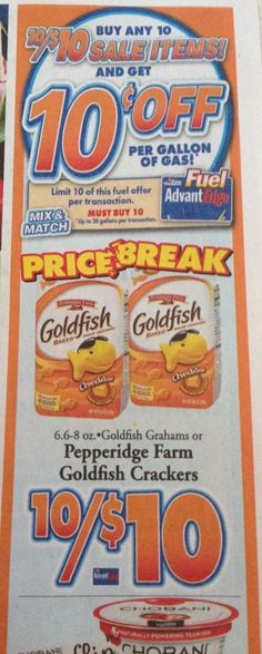 Goldfish Snack Crackers ONLY $1.00 at Price Chopper PLUS Bonus Gas Savings! - http://yeswecoupon.com/goldfish-snack-crackers-only-1-00-at-price-chopper-plus-bonus-gas-savings/
