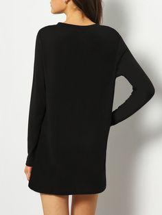 Чёрный асимметричный джемпер с вырезом