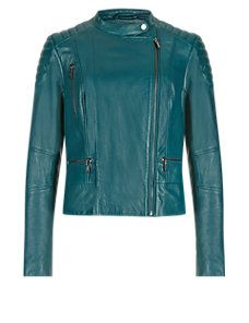 Petrol Green Leather Stitched Biker Jacket