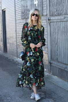 When we think floral, we generally tend to think of pretty pastel colours,  but all is about to change this season.Channel the trench by opting for a  dark,intricate printed dress and combine with lustrous textures like suede  and wool for fall,or off set a monochrome floral skirt with a bold floral  pattern by pairing with a delicate silk blouse.