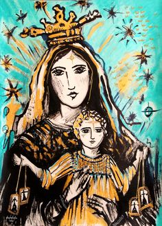 Catholic Art, Religious Art, Madonna And Child, Lady Madonna, Holy Art, Hail Holy Queen, Jesus Painting, Mama Mary, Spirited Art