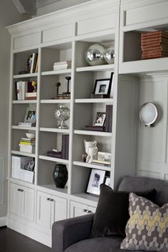 pale grey built-ins. Family Room Design Ideas, Inspiration, Pictures, Remodels and Decor