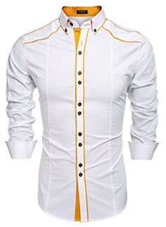 SELX Men Military Slim Fit Shirt Long Sleeve Button Down Dress Shirts