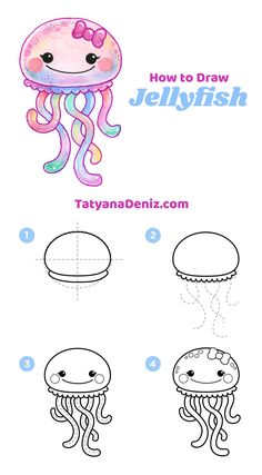 pencil drawing tutorials How to draw kawaii jellyfish (step-by-step tutorial) Zeichnungen iDeen Easy Pencil Drawings, Easy Doodles Drawings, Easy Doodle Art, Cute Easy Drawings, Simple Doodles, Kawaii Drawings, Disney Drawings, Pencil Art, Simple Animal Drawings