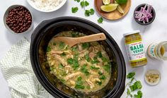 Slow Cooker Chicken Chili Verde 1 large TJ's Onion, diced 12 cloves TJ's Premium Peeled Garlic, minced 2 TJ's Jalapeños, deseeded and diced (use gloves!) 2 pounds TJ's Chicken Thighs 2 jars TJ's Salsa Verde teaspoon TJ's Ground Cumin Slow Cooker Recipes, Crockpot Recipes, Cooking Recipes, Healthy Recipes, Chicken Recipes, Lentil Recipes, Paleo Meals, Eggplant Recipes, Cabbage Recipes