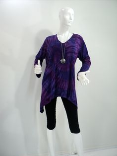 XLarge purple tie dye tunic top with V-neck and long sleeves in bamboo/cotton fabric. by qualicumclothworks on Etsy