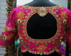 Elbow length Maggam work blouse designs and other blouses Pattu Saree Blouse Designs, Half Saree Designs, Wedding Saree Blouse Designs, Fancy Blouse Designs, Hand Work Blouse Design, Stylish Blouse Design, Maggam Work Designs, Bollywood, Indie