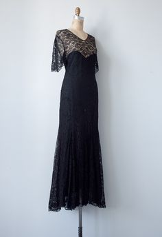 1930's style formal dresses | vintage 1930s black lace formal gown [Madame Butterfly Gown] - $168.00 ...