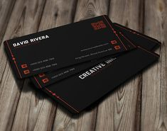 Black Modern Corporate Business Card #businesscards