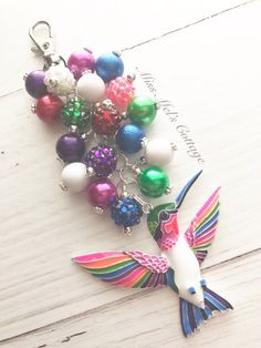 Beautiful Colorful Hummingbird Zipper Bag Charm/Keychain/Purse Charm/Car Rearview Mirror Charm/Fan Pull Charm/Ruby Throated/bird/planner by MissMelsCottage on Etsy Charm Jewelry, Jewelry Art, Jewelry Ideas, Beaded Jewelry, Jewlery, Beaded Necklace, Bling Purses, Keychain Ideas, Tassel Keychain