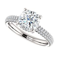Lola - Cushion Cut Forever Brilliant Moissanite Engagement Ring