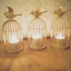 Gold Birdcage Lantern Tea Light Holder - table decorations