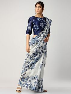 Buy Ivory-Blue Printed Chanderi Saree with Blouse Cotton Saree Blouse Designs, Saree Blouse Patterns, Sari Blouse, Chanderi Silk Saree, Kalamkari Saree, Silk Sarees, Indian Fashion Trends, Stylish Sarees, Elegant Saree