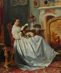 """A young lady reading a book, a spaniel on her lap"" (1858). Charles Louis Baugniet (Belgian, 1814-1886).  Notice her wrister. I love how she's sitting with her knees crossed."