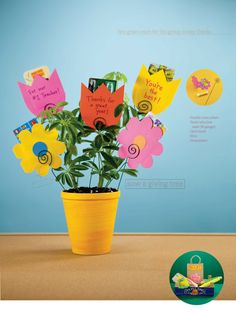Giving Tree: Plant flower-shaped envelopes, filled with gift cards and thank you notes, from the whole class.
