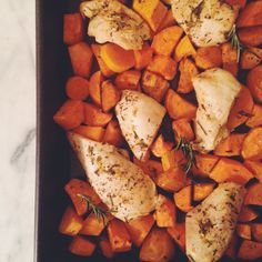 Sheet Pan Roasted Chicken and Sweet Potatoes