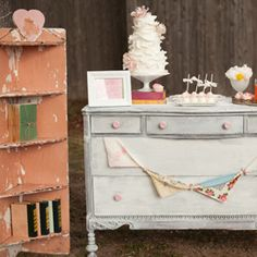 Shabby Chic White Distressed Dresser Hutch. Sweets Table. Vintage Wedding Lounge. Vintage Prop Rentals & Styling Houston Texas. via A Style Collective. #astylecollective www.astylecollective.com