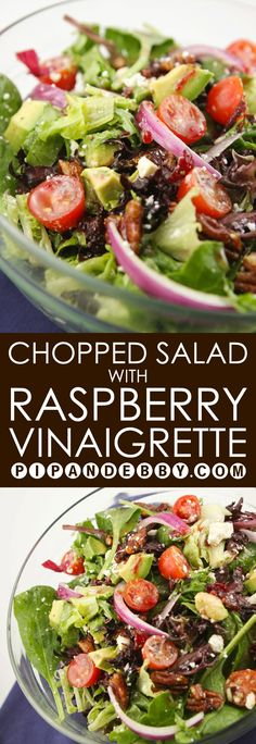 This Chopped Salad with Raspberry Vinaigrette is delicious and packed with texture and flavor! Salad Bar, Soup And Salad, Pasta Salad, Food Salad, Quinoa Salad, Quinoa Rice, Chopped Salad Recipes, Healthy Salad Recipes, Chopped Salads