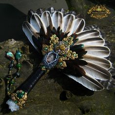 THE GREEN KNIGHT - Turkey Feather Smudging Fan Bison Fossil Pagan Altar Art