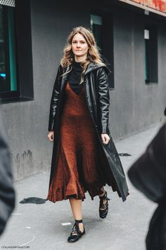 Miu Miu Ballet Flats worn with a leather coat, a loose rusty orange dress and a black t-shirt underneath Look Fashion, Girl Fashion, Autumn Fashion, Fashion Outfits, Fashion Trends, Milan Fashion, Street Fashion, Ballerine Miu Miu, Slip Dress Outfit