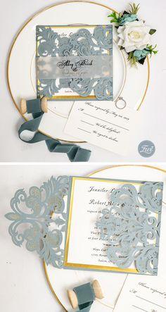 dusty blue and shimmer gold wedding invitations #EWI #weddinginvitations