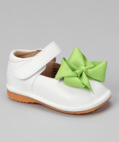Take a look at this White Bow Squeaker Mary Jane by Laniecakes on #zulily today!