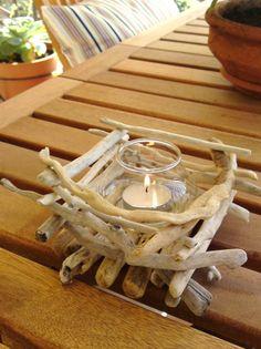 Driftwood Candle Holder, Beach wedding, Driftwood centerpiece. $30.00, via Etsy.