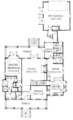 Allison Ramsey Architects Floorplan for Broad River Cottage