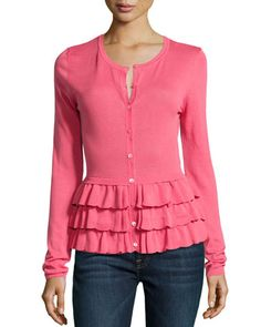 Ruffle-Tiered Knit Cardigan, Hibiscus by RED Valentino at Neiman Marcus Last Call.  Very romantic!