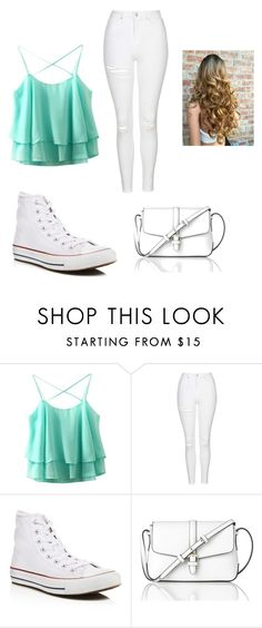 """Cute blue"" by mylifeasmaddy25 ❤ liked on Polyvore featuring Topshop, Converse and L.K.Bennett"