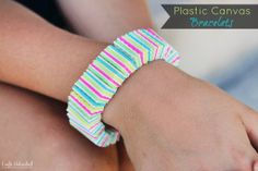 Plastic Canvas DIY bracelets -- a fun and colorful #craft! || #LittlePassports #Arts and #crafts for 6-8 year olds