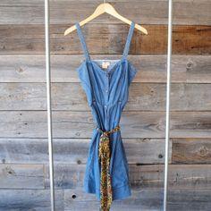 'Pilcro' Denim button up dress | Size: 8 | Sweetheart neckline | Floral chiffon tie | $22 | See Instagram @Robert NOIR to purchase.
