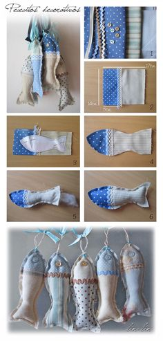 Fet amb cor: Tutorials Fish Crafts, Beach Crafts, Fabric Crafts, Fabric Art, Patchwork, Sewing Projects, Sewing Crafts, Fabric Fish, Textiles