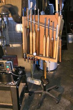 Here is a tool rack design using a chair base