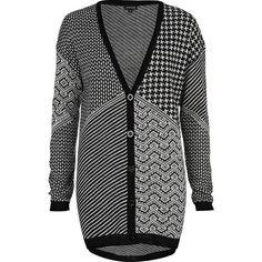 River Island Black print intarsia cardigan ($23) via Polyvore
