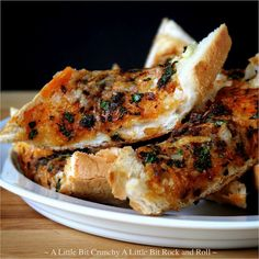 Easy Garlic Toast with paprika, parsley, and parmesan.... from A Little Bit Crunchy A Little Bit Rock and Roll