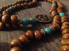 108 Magnesite and Beaded Wood Om Mala Necklace by EvolvingJewelry, $38.00