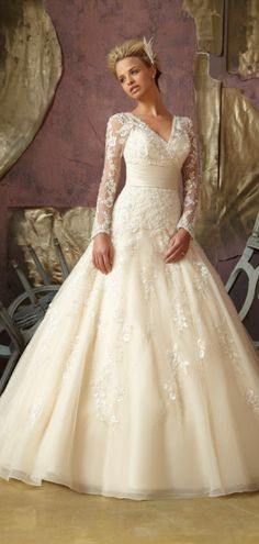 Fall Chapel Train Long Sleeve Church Wedding Dress #wedding #dress