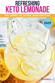 I love a nice ice-cold glass of lemonade on a hot summer day. It's the perfect thirst quencher after a day outside. But, most lemonade is full of sugar, so I'm sharing this Easy Sugar-free Keto Lemonade recipe to help you enjoy the refreshing tart flavor of traditional lemonade with none of the preservatives or carbs. #lemonade #ketorecipes #lowcarbrecipes #lemon #drink #keto #ketodiet #lowcarb
