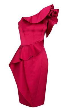 Karen Millen Satin Ruffle Dress Pink