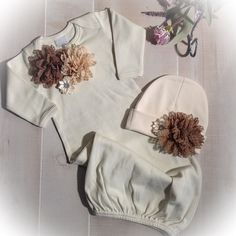 Newborn Girl Take Home Outfit Natural Layette by PoshBabyBlooms