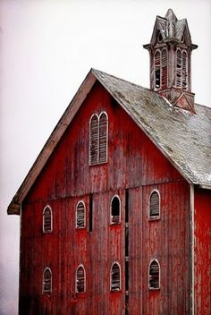 Red Barn, Lots Of Windows, & Cupola