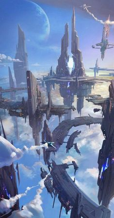 For fantasy and sci-fi art featuring heavenly cities and islands that float among the clouds, the sky-faring vessels used to travel between them,. Cyberpunk Kunst, Cyberpunk City, Futuristic City, Futuristic Architecture, Fantasy City, Fantasy Places, Fantasy Kunst, Fantasy World, Dark Fantasy