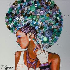 Natural Hair Art, Frohawk of buttons Black Girl Art, Black Women Art, Art Girl, Natural Hair Art, Natural Hair Styles, Black Artwork, Wow Art, Afro Art, African American Art