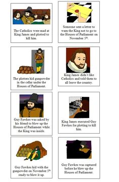 colourful chronology cards to put the story of Guy Fawkes and his Gunpowder Plot in order. Bonfire Night Guy Fawkes, Guy Fawkes Night, Bonfire Night Story, Bonfire Night Activities, Bonfire Night Crafts, Guy Fawkes Story, Kit Harington, Plot Activities, Gunpowder Plot