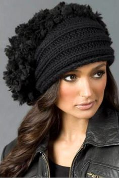 fabulous hat with fur texture - pattern available in russian Beret, Winter Hats, Crochet Accessories, Knight, Berets