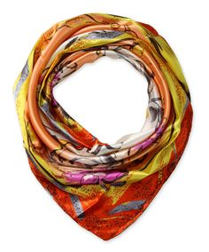 "Corciova® 35"" Silk-like Big Square Scarf (Paisley orange edge light orange background)"