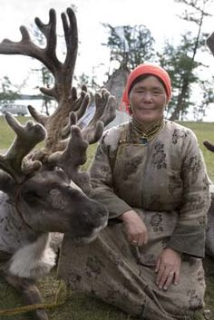 """The Tsaatan, or """"reindeer people,"""" sometimes bring their herds down from the northern forests to graze at Lake Hovsgol during the summer."""