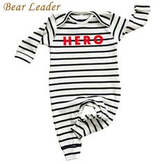 Baby Rompers born Striped Baby Boy Clothes Long-sleeve HERO Letter Print Baby Jumpsuit Infant Suit Toddler
